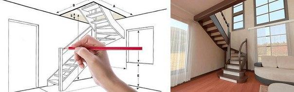 Расчет лестницы на второй этаж с поворотом на 180 градусов