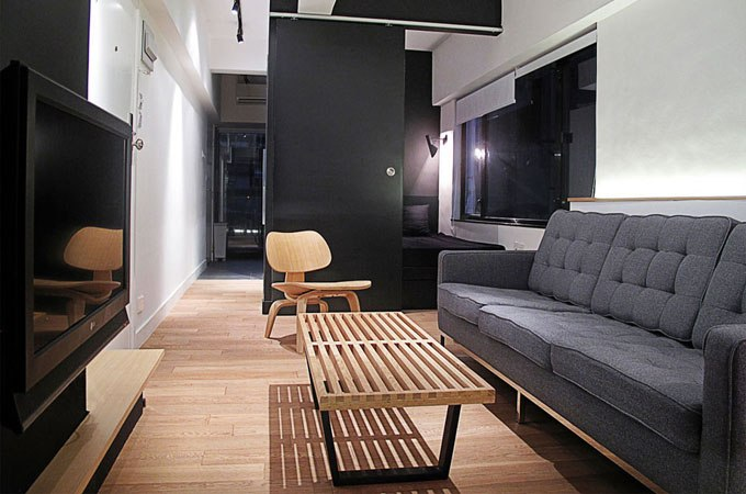 Дизайн узкой квартиры-студии 35 м в Гонконге / Китай от One By Nine - http://kvartirastudio.