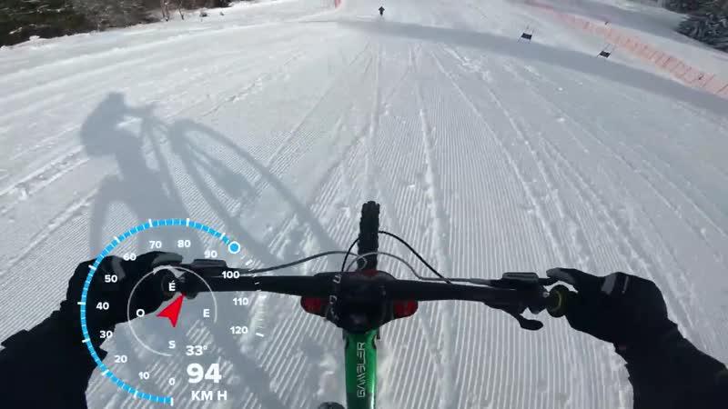 High speed Run on ski slope _ 105 Km_h