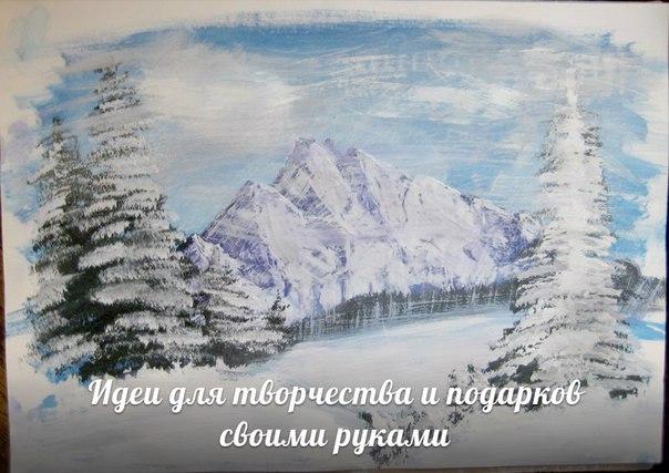 Зимний лес гуашью (7 фото) - картинка