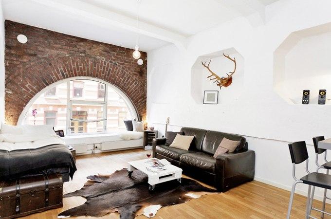 Лофт в дизайне квартиры-студии 38 м в Гётеборге / Швеция - http://kvartirastudio.