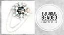МК - Брошь из риволи, бисера и бусин   Tutorial - Rivoli and beads brooch