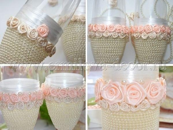 Декор свадебных бокалов #поделкисвоимируками - Бугл ньюс