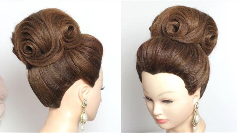 High Bun Hairstyle For Long Hair. Bridal Updo Tutorial