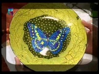 Декупаж. Декорируем часы, тарелку и бижутерию используя фацетный лак.