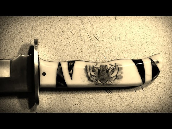 Knife Making - Scrimshaw - Face of a Tiger on a Knife Handle