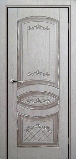 Межкомнатная дверь Натуральный шпон МИЛАН (Белая эмаль) ДГ