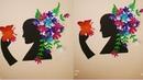 DIY Beautiful Women Paper Wall Art / Unique Paper Flower Wall art / Wall Decor