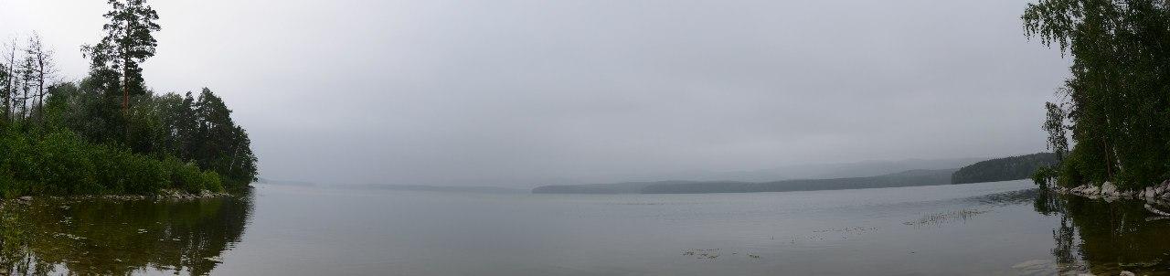 Большое Миассово в тумане с нашего залива (06.11.2014)