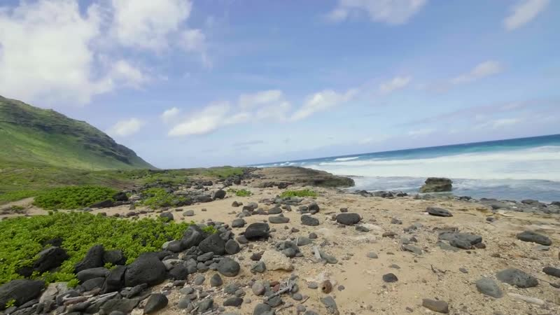 4K Virtual Walk with Ocean Views Nature Sounds Kaena Point Trail Oahu Hawa