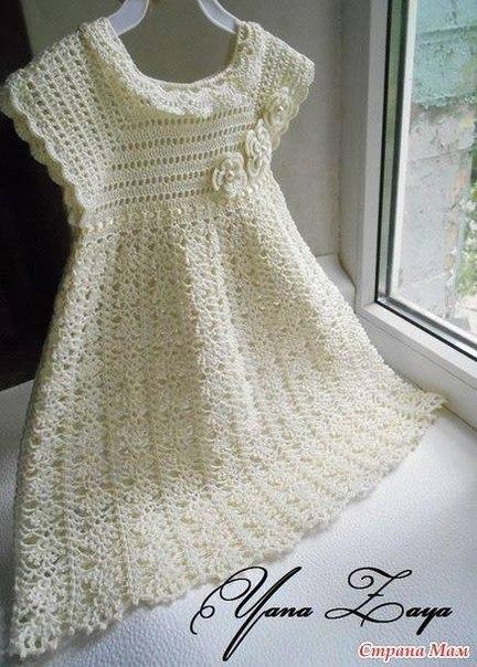 Белое платье девочке крючком схемы