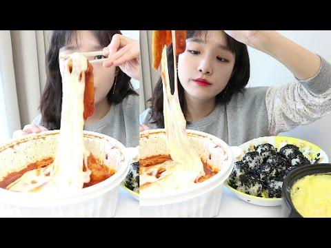 엽기떡볶이 먹방 _ 엽떡 매운맛! 주먹밥하고 달걀찜하고 같이먹어도 매워, 46497