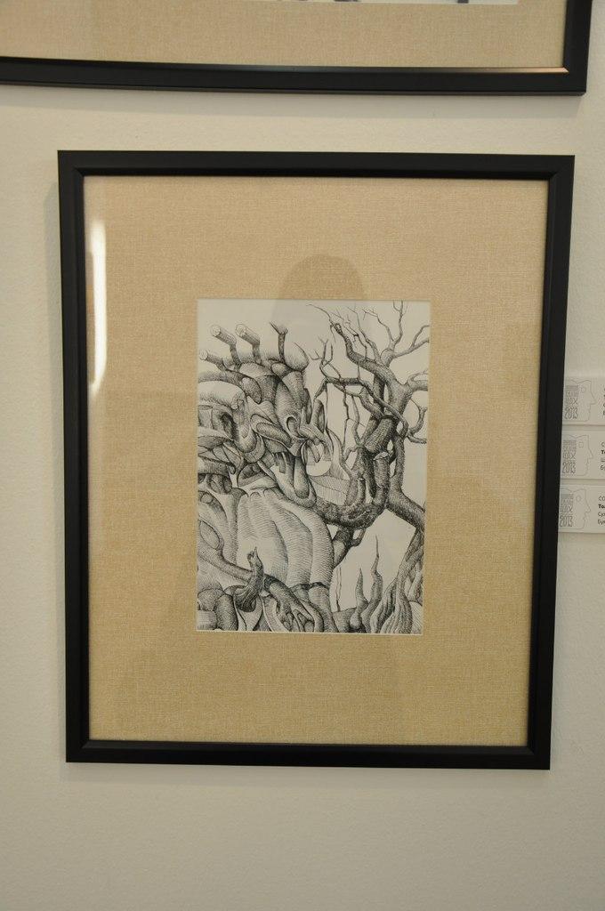Союз художников Кыргызской Республики  Толгобек Койчуманов (р. 1985)  Сухое дерево. 2011  Бумага, тушь