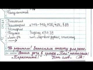 100 упоротых записей в школьных дневниках