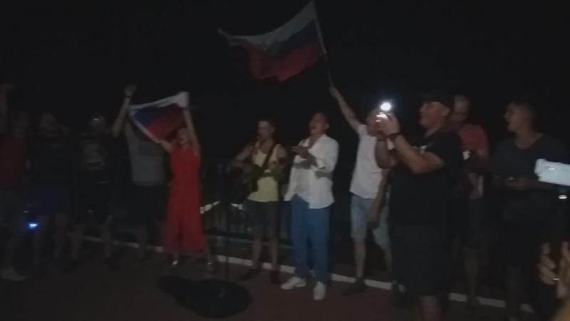 Гимн России в исполнении болельщиков.