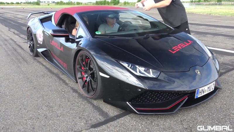 Lamborghini Huracan Spyder w LEVELLA X Pipe Exhaust LOUD REVS DRAG RACE