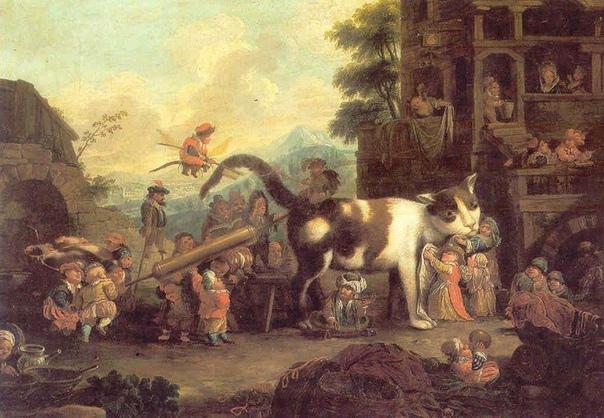 Картина «Лилипуты, ухаживающие за кошкой», Художник Фаустино Бокки (1659-1741), частное собрание. Бокки не слишком известен и, в основном, работы по частным коллекциям: такой поздний фанат Босха