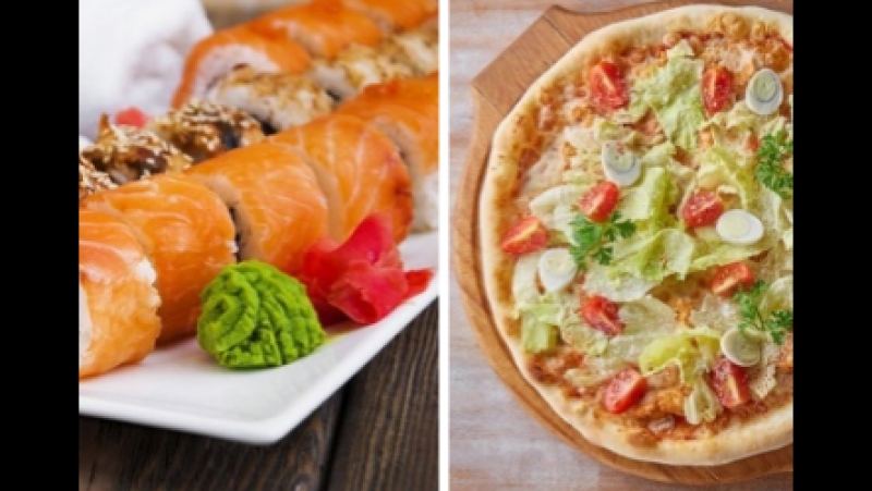 сет роллов и пицца