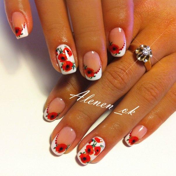 Френч ногтей разных цветов 4