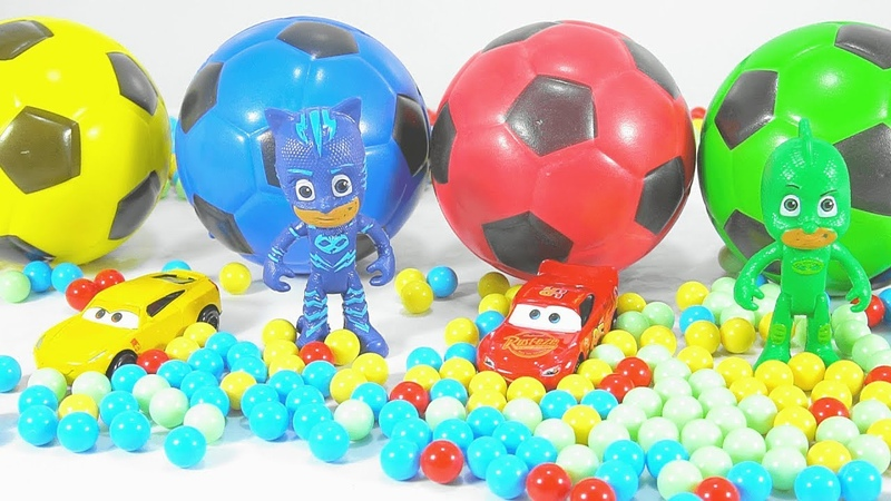 Pjmasks Learn Colors with Coca Cola Beads Bottles Magic Succer Balls and Pj Masks Surprise Toys