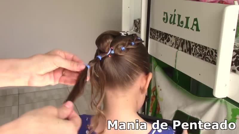 Penteado Infantil de coque e trança falsa com ligas