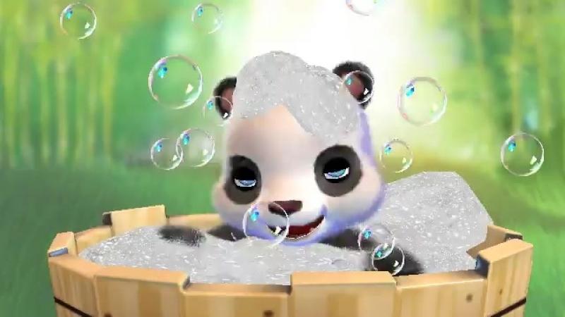 панда моется