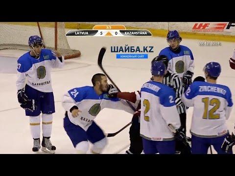 Дамир Рыспаев против латвийских хоккеистов. Damir Ryspayev vs Oskars Batna and Ralfs Grinbergs