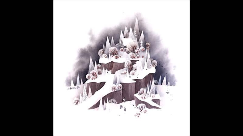 Iraville. Watercolor Illustration snowy Winter landscape