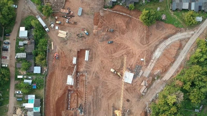 Аэросъемка Нововятск 41-й строительство нового детского сада