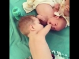 Brother helps his little sister )