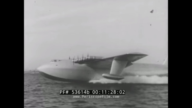 YESTERDAY'S NEWSREEL HOWARD HUGHES SPRUCE GOOSE FLIGHT DUNKIRK 53614b