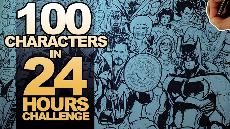 DRAWING 100 CHARACTERS in 24 HOURS ART CHALLENGE!