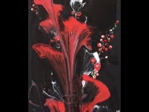 Рисуем Абстрактные цветы веревкой и цепью Акрил Painting the flowers with chain and string