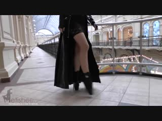 Ballet heels markissa walking at gum in ballet boots latex coat