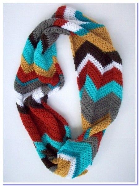 Delicadezas en crochet Gabriela: Bufanda infinita punto zig zag