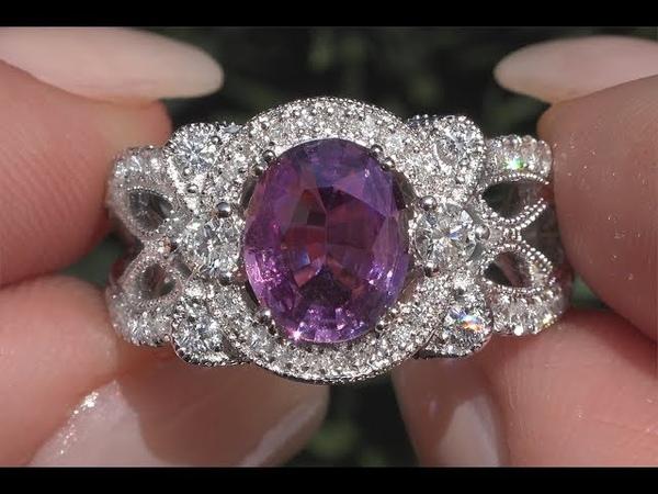 GIA 2.60 tcw VS Top Gem Purple Pink Color Sapphire Diamond Cocktail Ring 14k White Gold C244