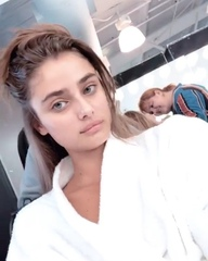 """Models' Stories on Instagram: """"[August 9]: Taylor Hill (@taylor_hill) in New York City on set for the Victoria's Secret Holiday Campaign 2018. ❄️❤️..."""