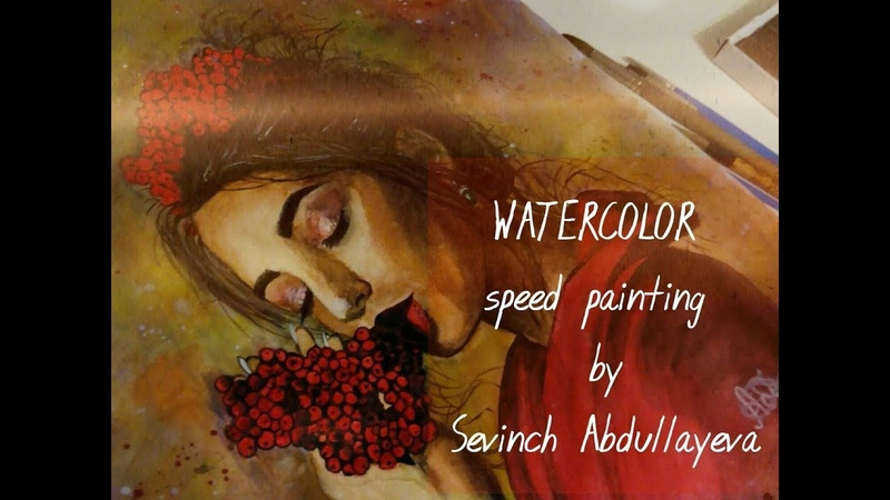 Watercolor speed painting The girl with rowan by Sevinch Abdullayeva