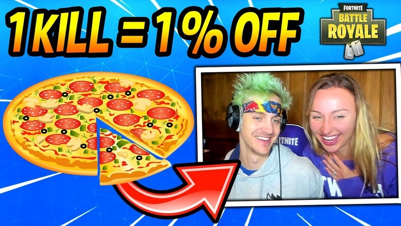NINJA TAKES ON THE UBER EATS CHALLENGE! W/ WIFE! (1 KILL = 1% OFF) Fortnite FUNNY Moments