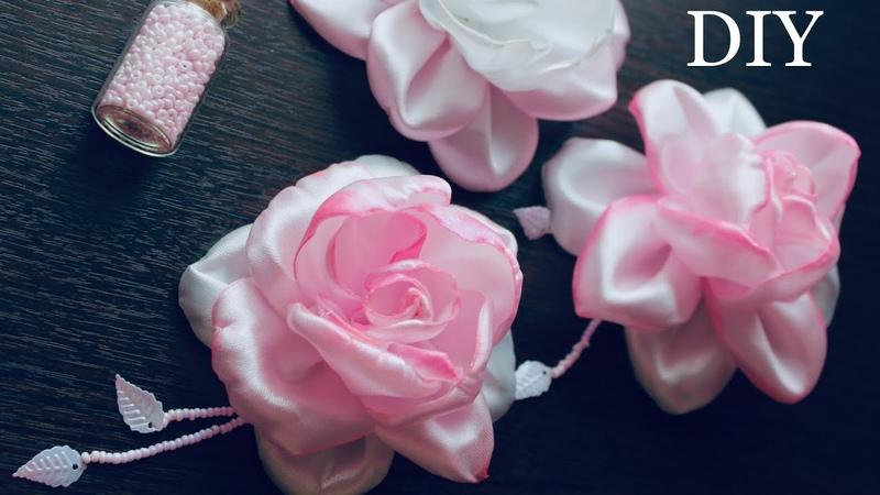 Розы из атласных лент DIY Satin Ribbon Rose hair Clips Rosas de cintas kanzashi
