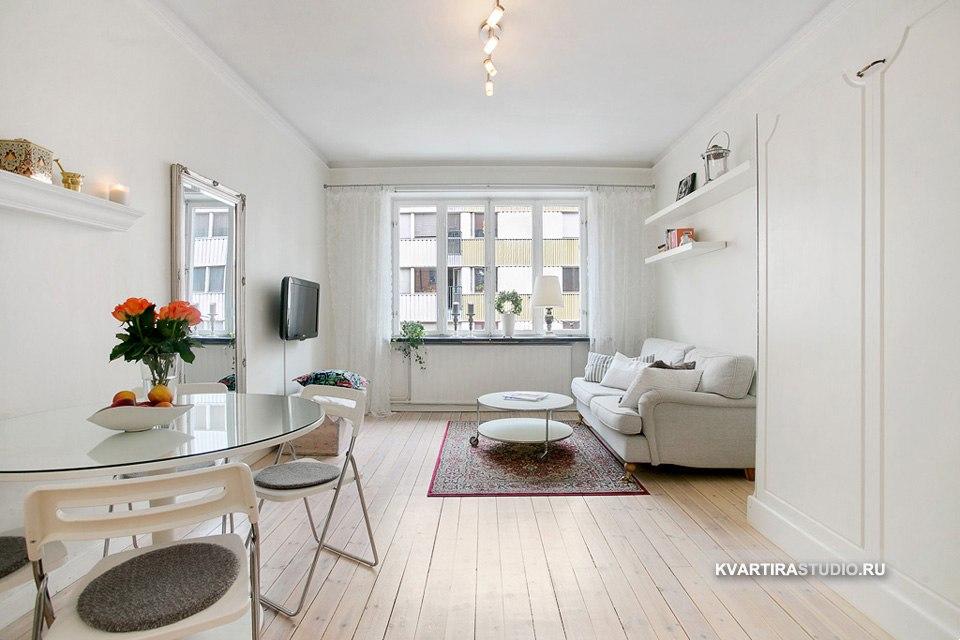 Квартира 28 м с вертикальной подъемной кроватью в Копенгагене / Дания - http://kvartirastudio.
