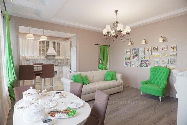 Гостиная и кухня с ярким декором в зеленом цвете...