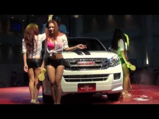 Sexy car wash from FHM girls at BKK auto salon