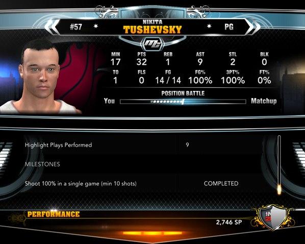 Статистика рекордного матча в карьере НБА2К13