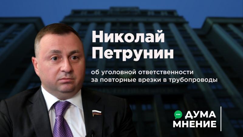 ДумаМнение. Николай Петрунин об уголовной ответственности за повторные врезки в трубопроводы