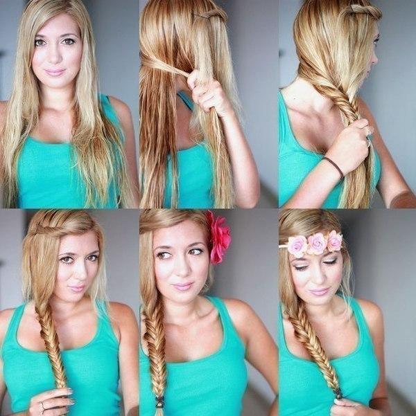 Выбор причесок для длинных волос огромен.  Можно оставить волосы распущенными, выпрямить утюжком, сделать кудри или...