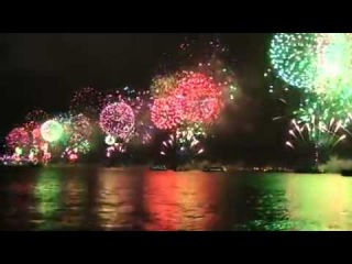October 29, 90th anniversary of the Republic, a spectacular fireworks show Bosphorus Strait. Turkey