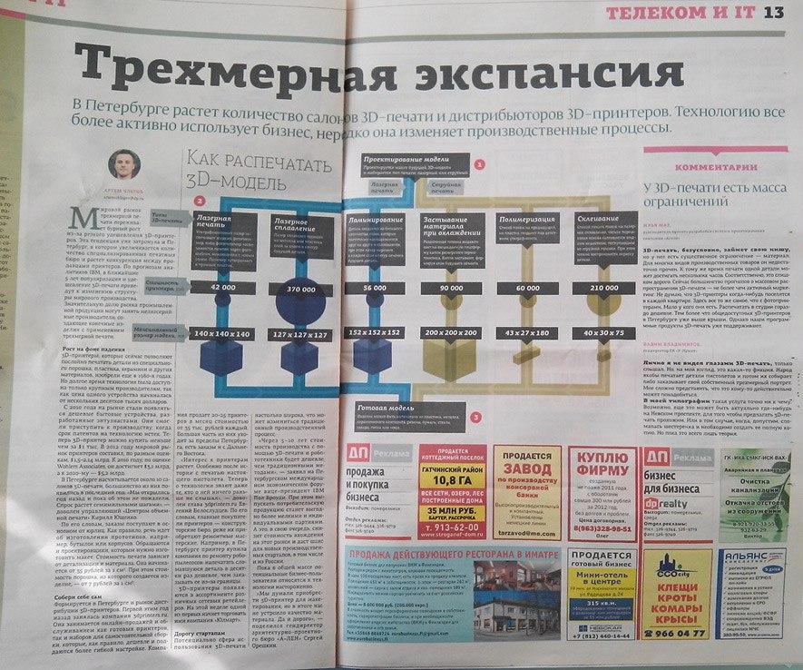 Интервью Евгения Белослудцева (Printers3D.ru) для газеты