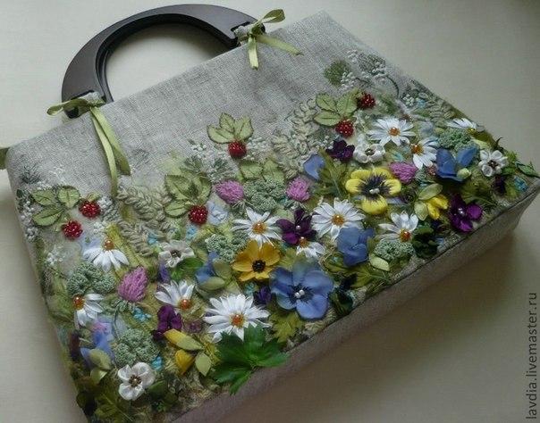 Вышивки лентами сумки фото