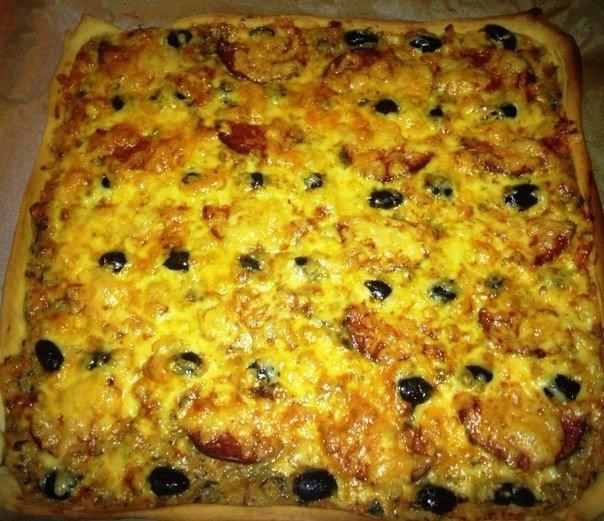 Пицца с оливками и салями Автор: Мария Войтко Тесто. 1.